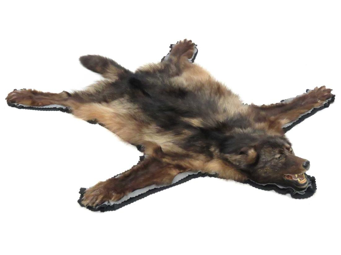 WOLF SKIN RUG WITH HEAD AND CLAWS. 72 X 60""