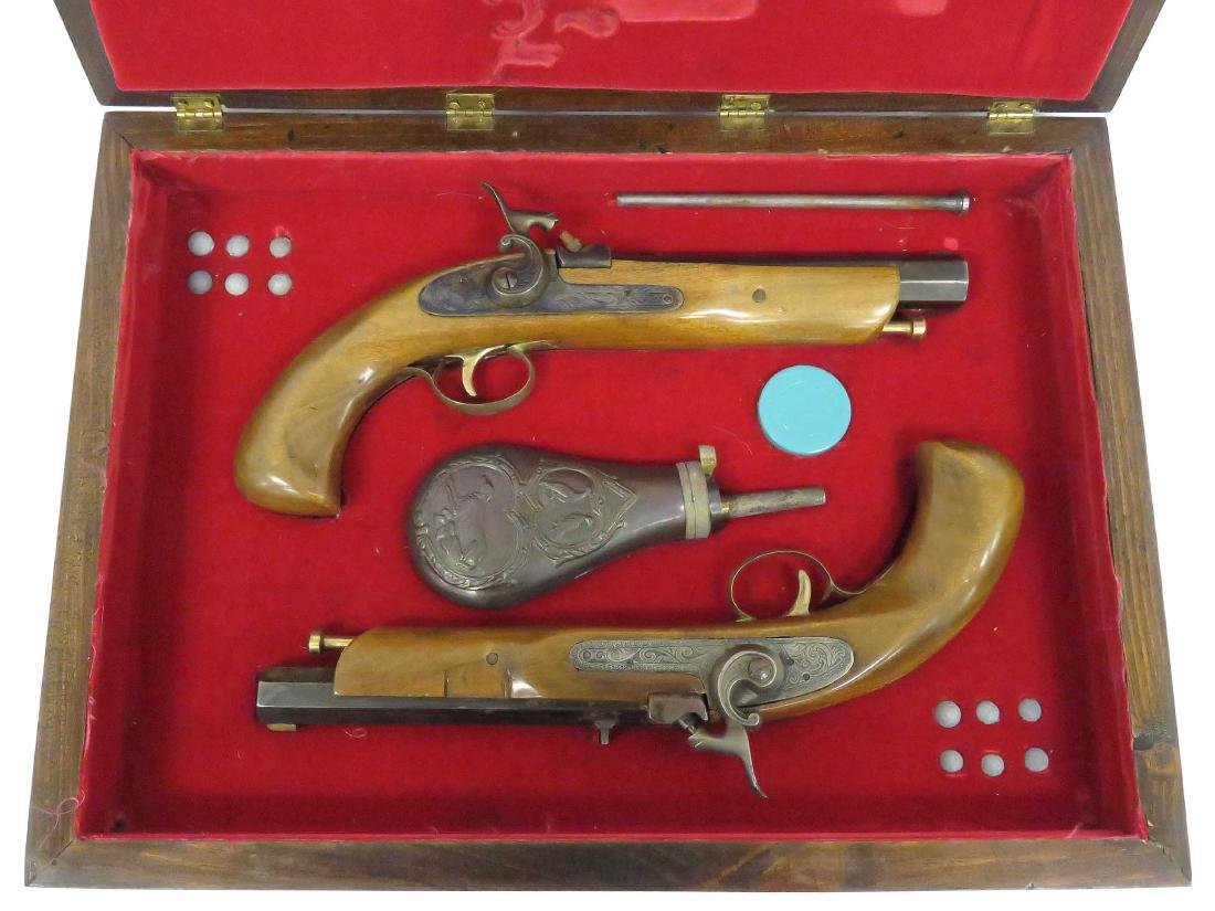 CASED PAIR 45 CAL PERCUSSION DUELING PISTOLS WITH SHOT