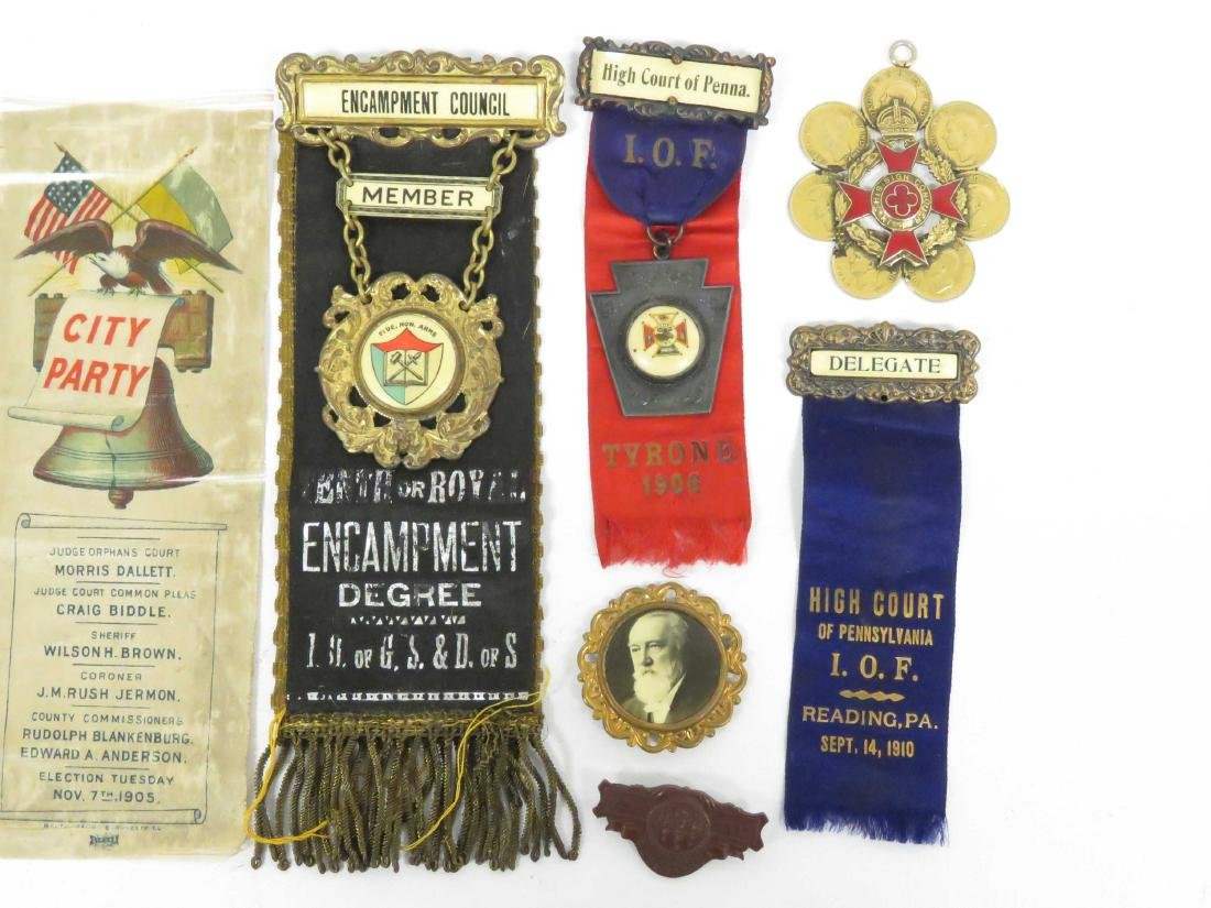 LOT ASSORTED FRATERNAL AND GETTYSBURG GAR MEDAL, PINS, - 3