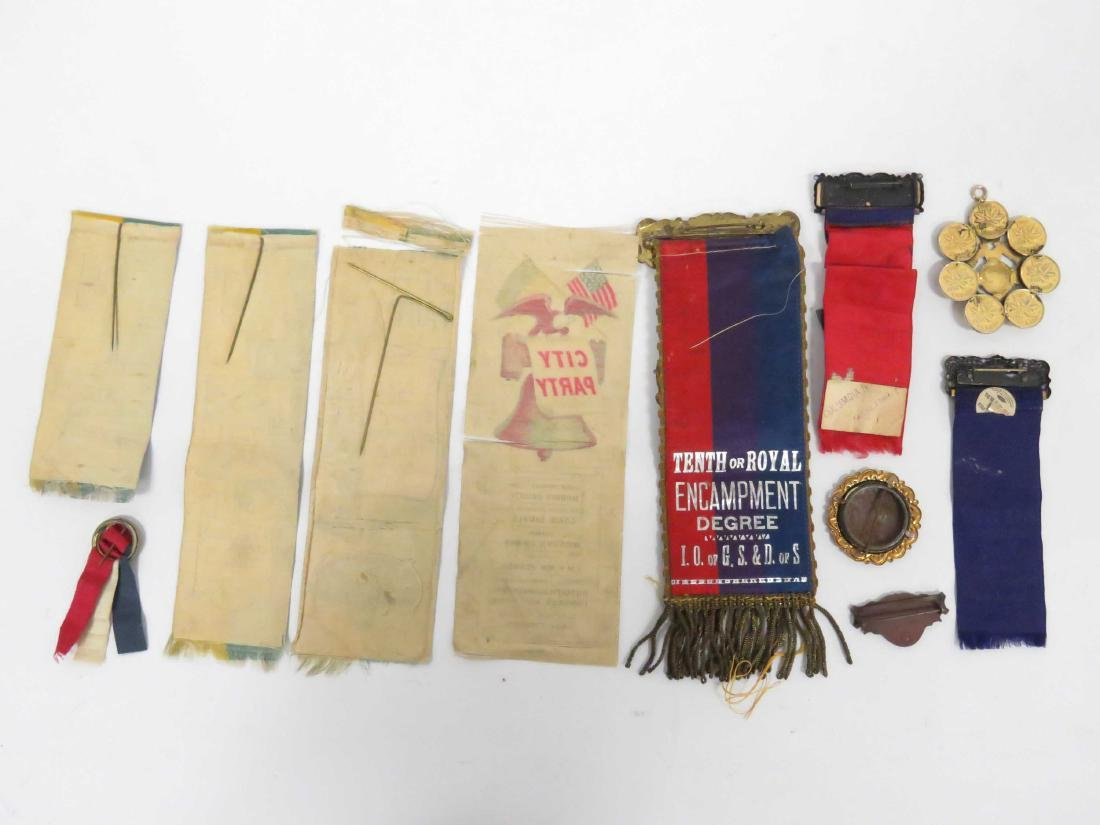LOT ASSORTED FRATERNAL AND GETTYSBURG GAR MEDAL, PINS, - 4