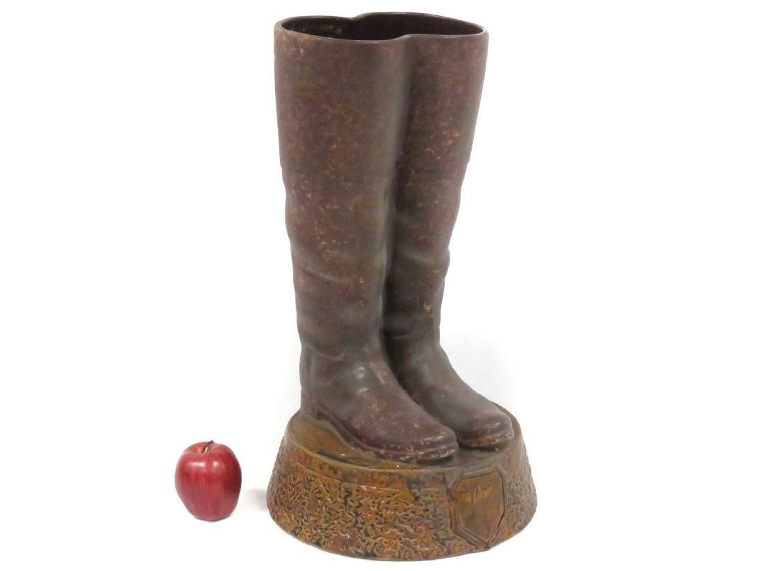 "GLAZED CERAMIC BOOTS, UMBRELLA STAND. HEIGHT 22"""