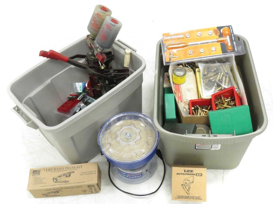 (2) TUB LOTS ASSORTED RELOADING MACHINES, SUPPLIES,