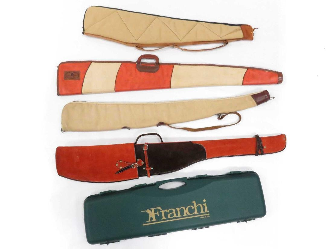 LOT (5) ASSORTED CANVAS AND LEATHER GUN CASES INCLUDING