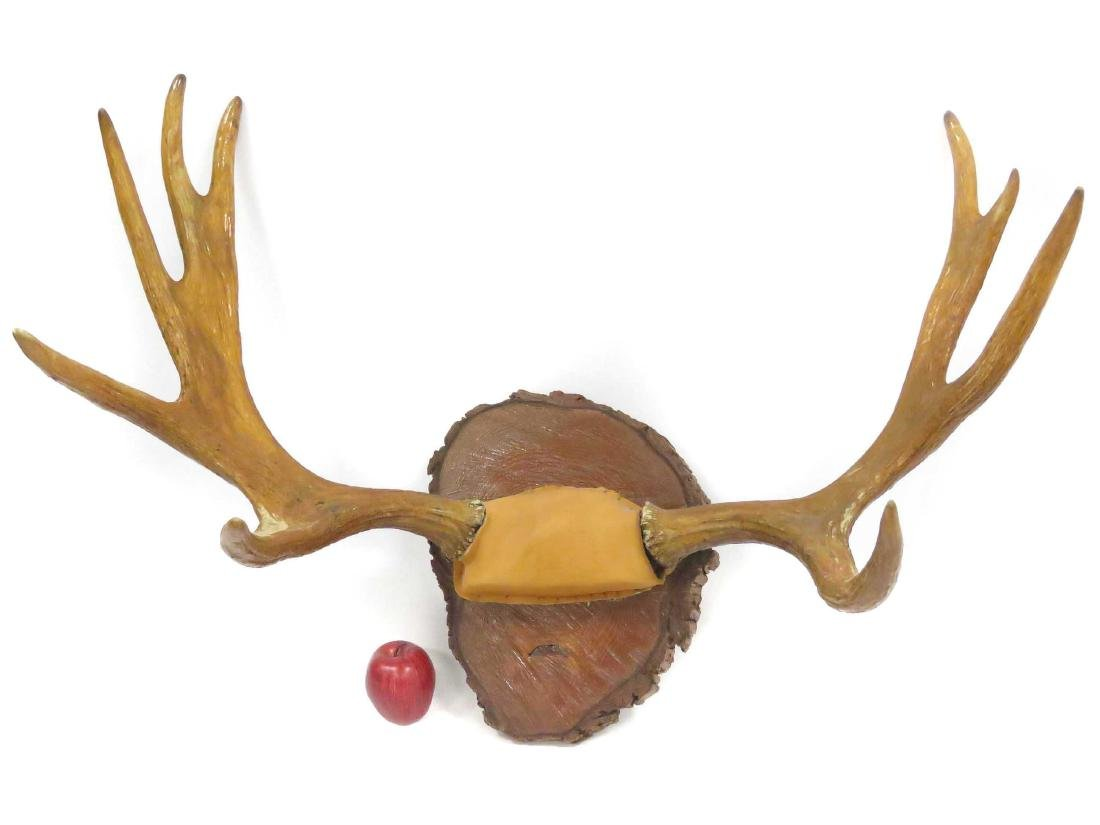 "ELK ANTLER TROPHY RACK ON SLAB PLAQUE. HEIGHT 27"";"