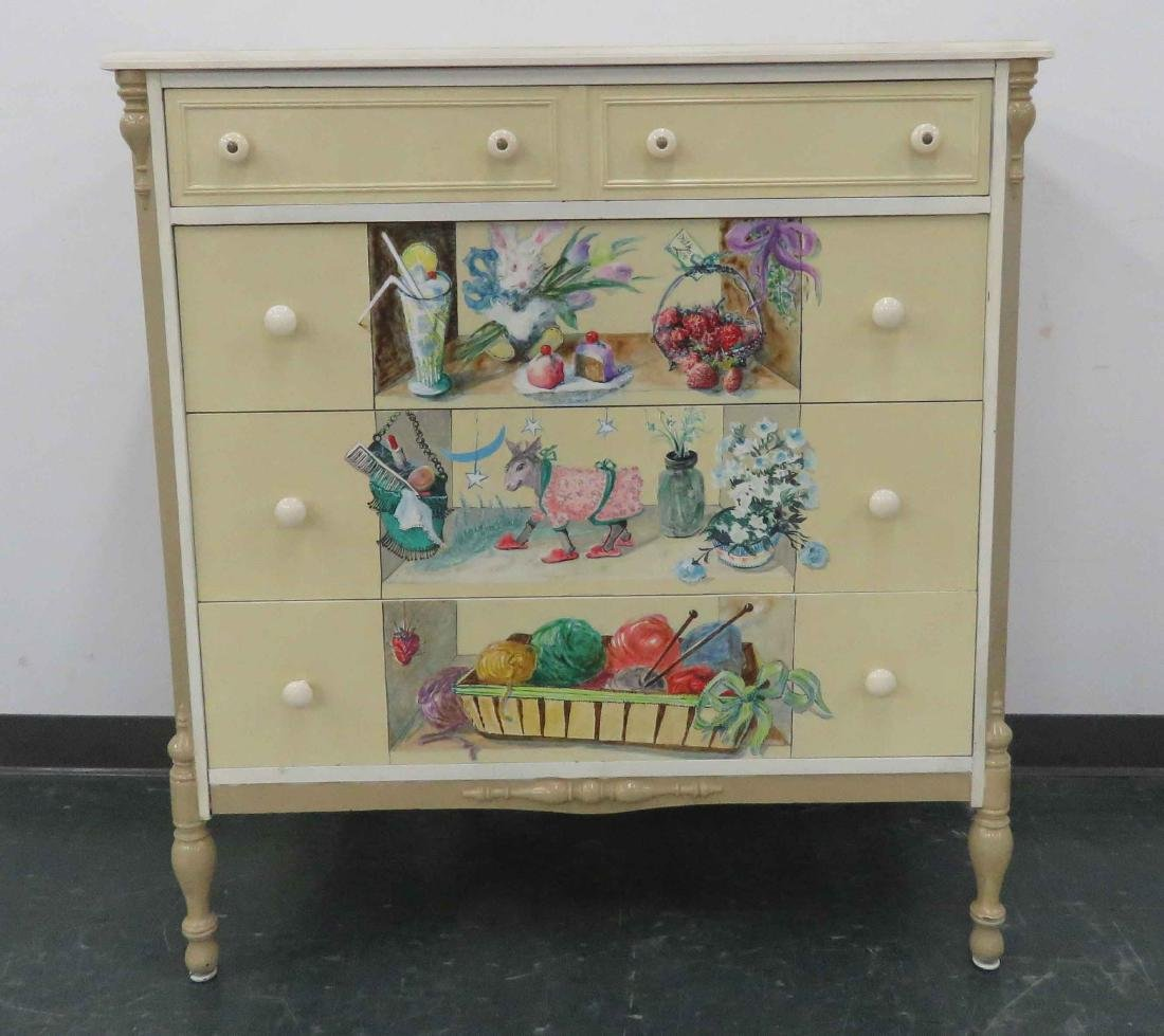 "VINTAGE HAND PAINTED CHEST OF DRAWERS. HEIGHT 43 1/2"";"