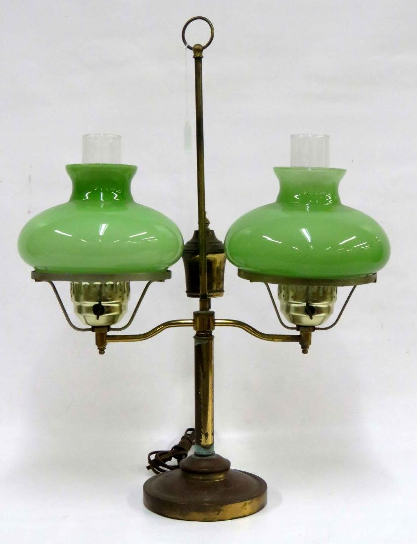 STUDENT LAMP WITH DOUBLE GREEN SHADE