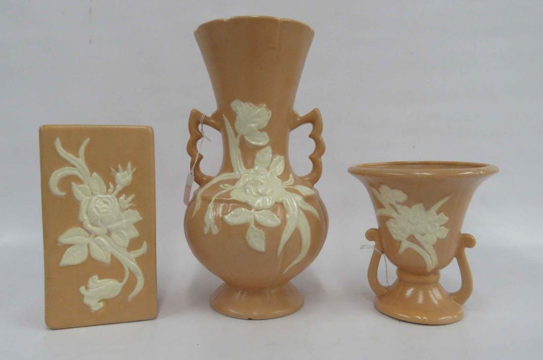 "LOT (3) WELLER ""CAMEO"" PATTERN ART POTTERY VASES."