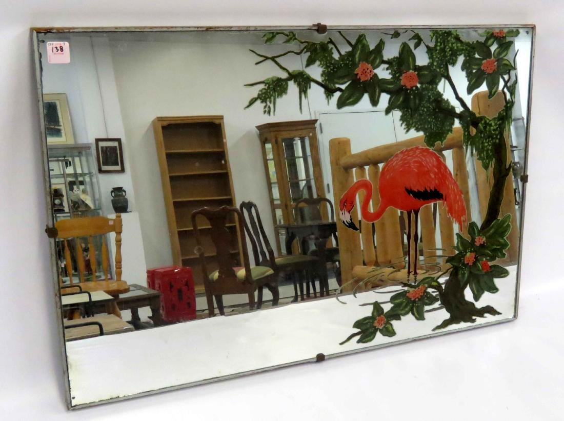 ART DECO REVERSE DECORATED MIRROR WITH FLAMINGOS. 20 X