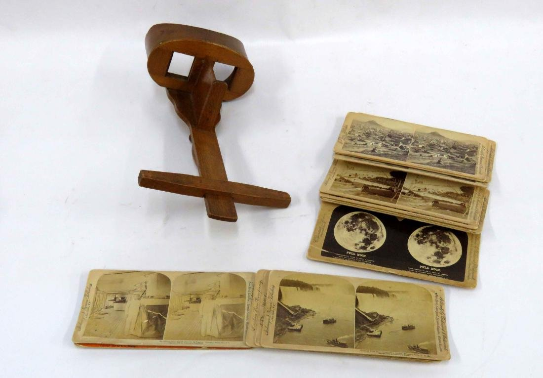 VINTAGE STEREOPTIC CARDS AND VIEWER (MISSING 1/LENS)