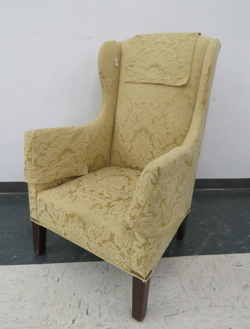 CHIPPENDALE STYLE MAHOGANY HIGH WING-BACK SIDE CHAIR