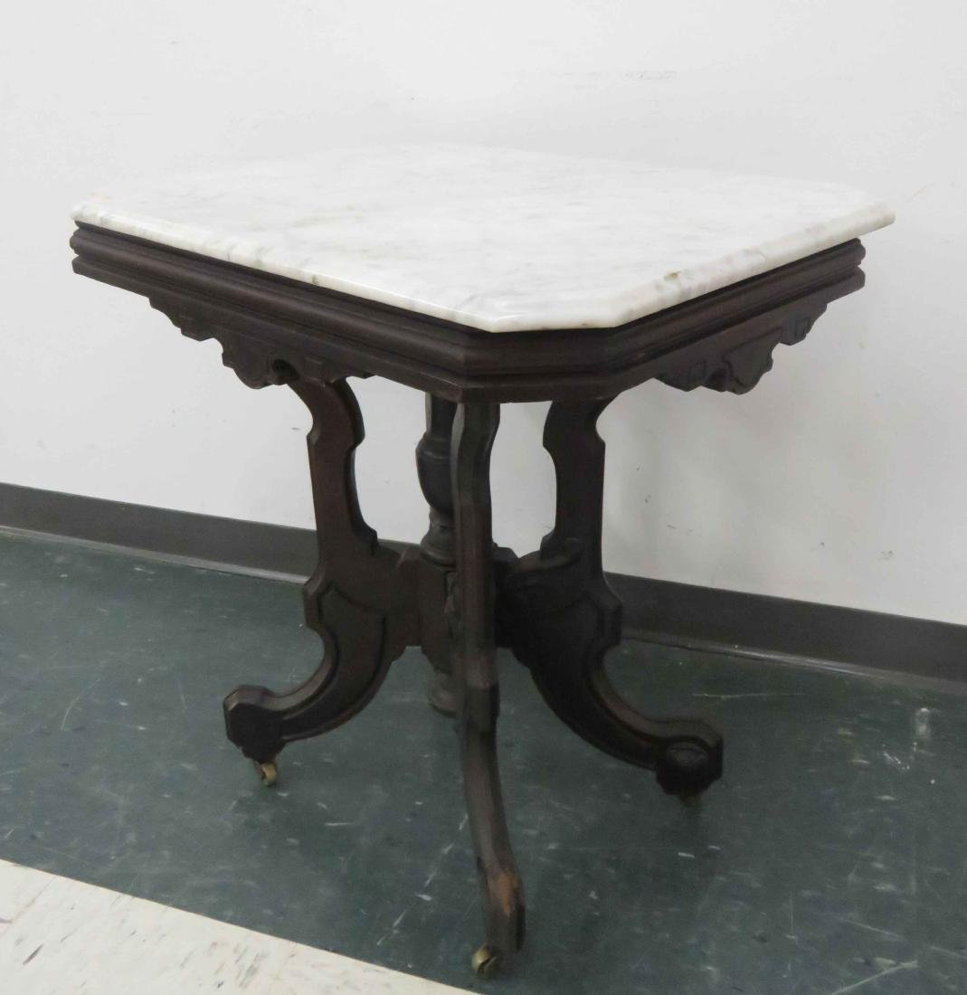 VICTORIAN CARVED WALNUT TABLE WITH MARBLE TOP, 19TH