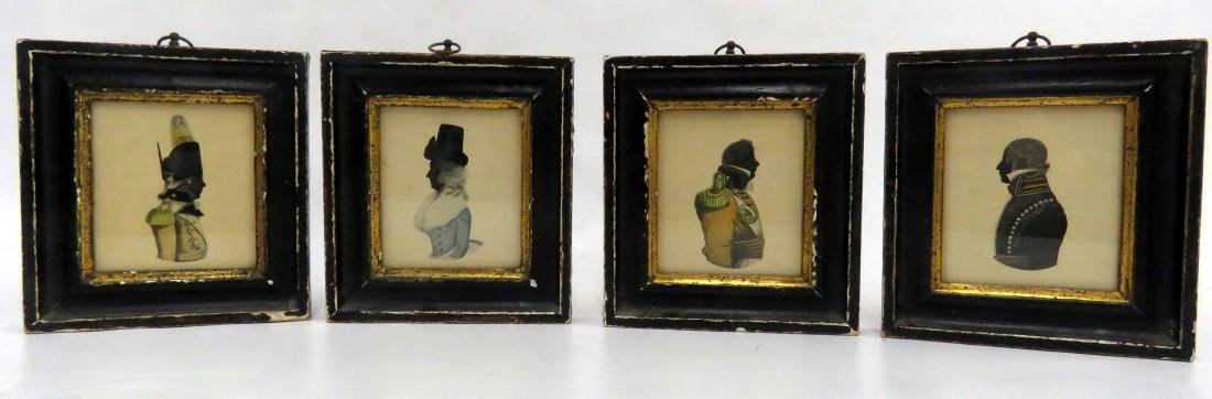 LOT (4) VINTAGE BORGHESE SILHOUETTE PRINTS. FRAMED AND