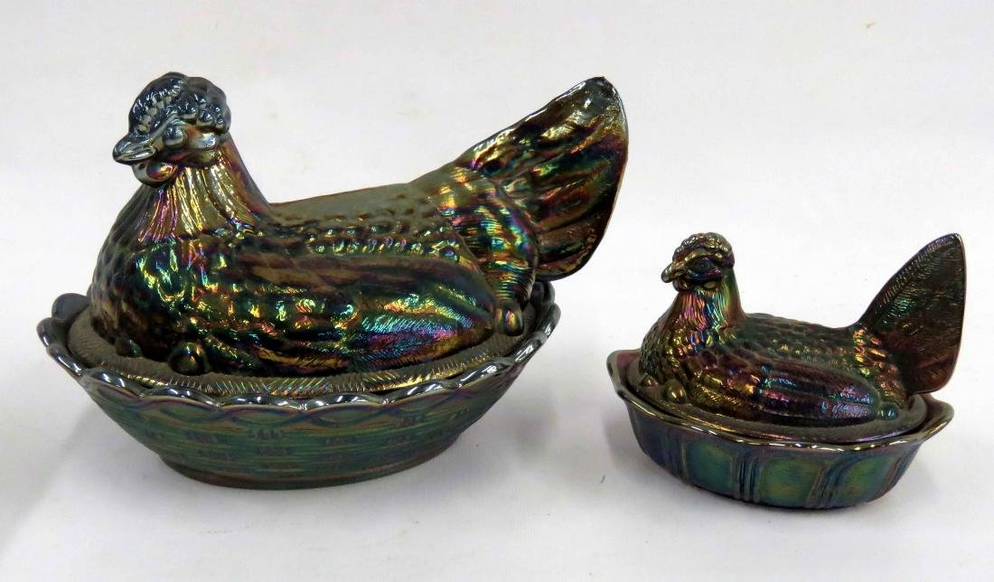 LOT (2) ASSORTED FENTON CARNIVAL GLASS HEN ON NEST,