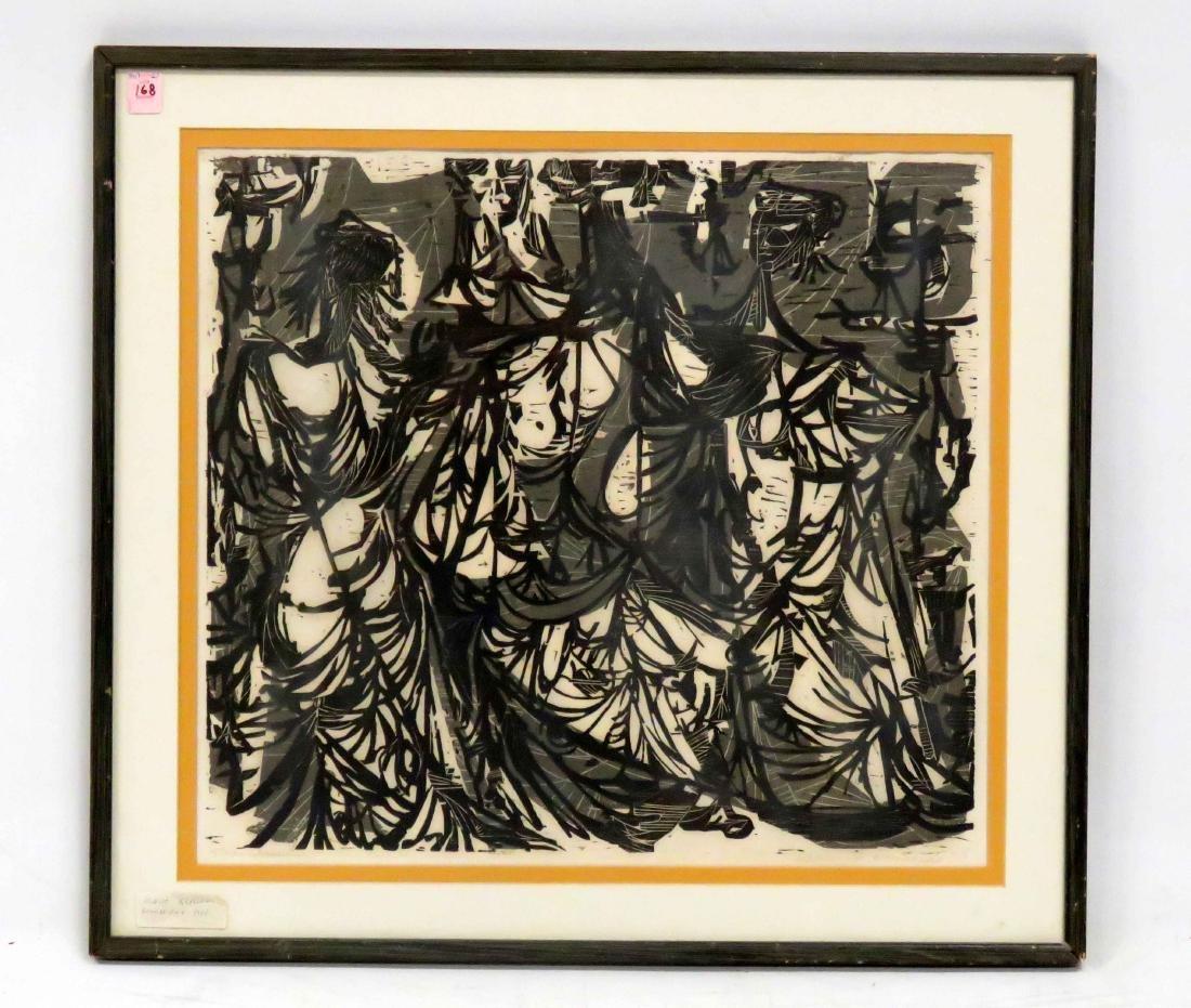 """ALAN JERONE KLAWANS (AMERICAN 1932-), LINOCUT, """"THE"""