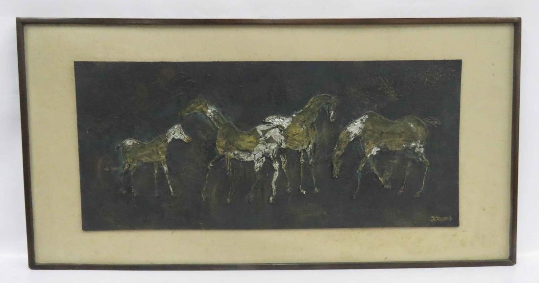 MID-CENTURY MODERN ENCAUSTIC ON PANEL, HORSES, SIGNED