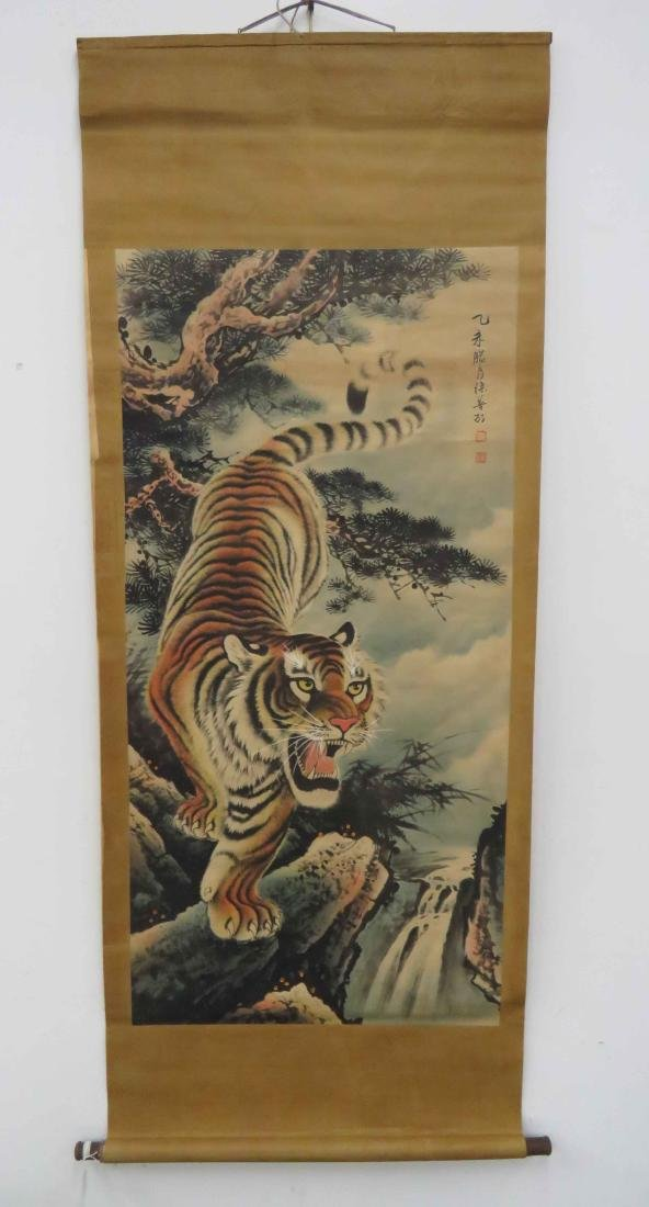 LOT (3) CHINESE SCROLLS INCLUDING TIGER, FIGURES AND