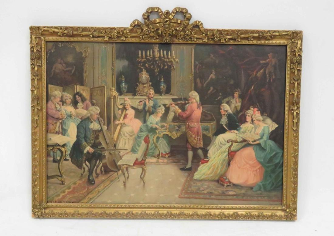 VINTAGE FRENCH STYLE CHROMOLITHOGRAPH, AFTER DENEGY,
