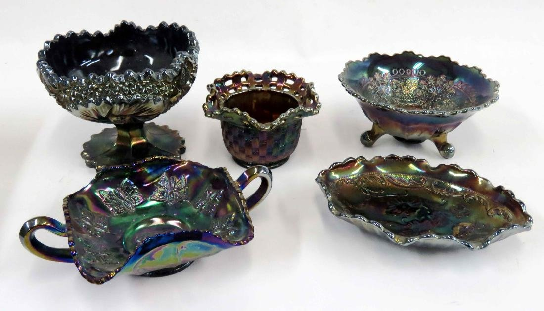 LOT (5) ASSORTED FENTON CARNIVAL GLASS BOWLS, SIGNED