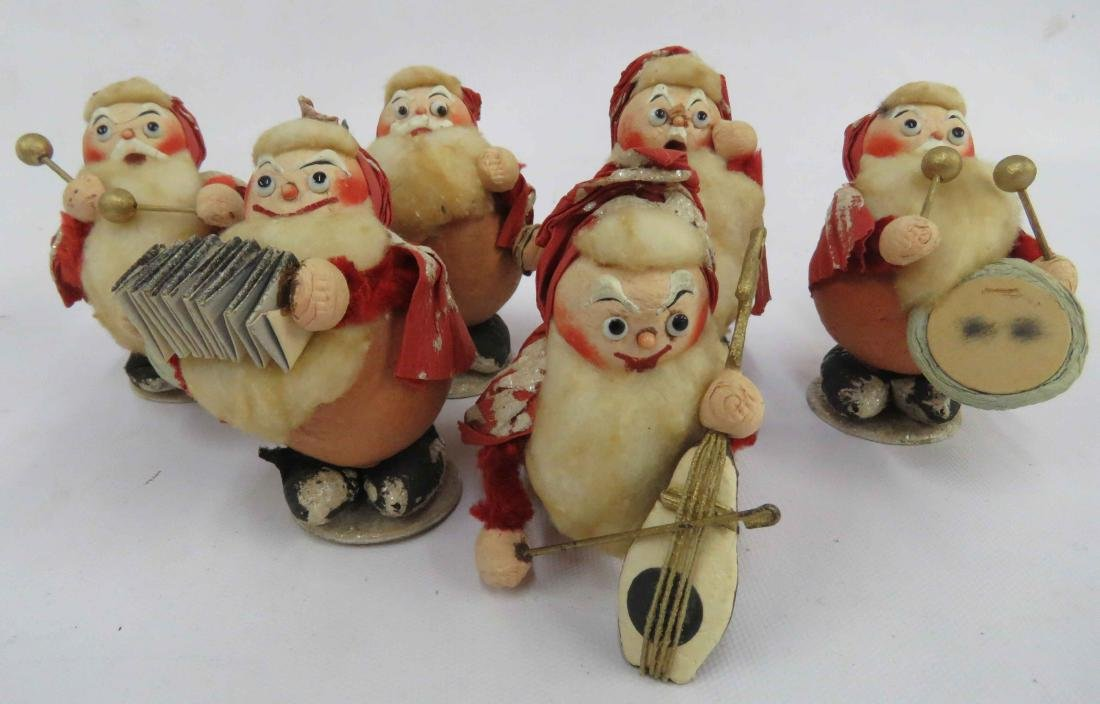 "LOT (6) VINTAGE FRENCH PAPIER MACHE ""SANTA BAND""."