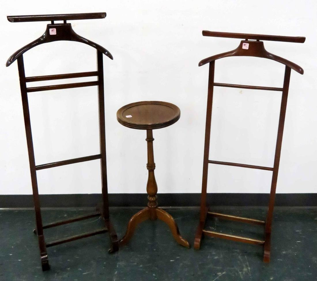 LOT (3) INCLUDING (2) WARDROBE/COSTUMER STANDS, KETTLE