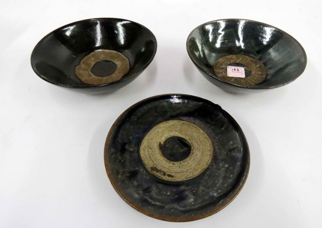 LOT (3) CHINESE JIZHOU DECORATED POTTERY INCLUDING (2)