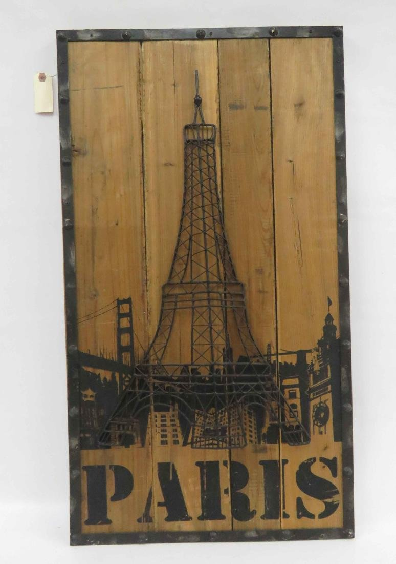 WROUGHT IRON EIFFEL TOWER MOUNTED ON WOOD PANEL. 36 X