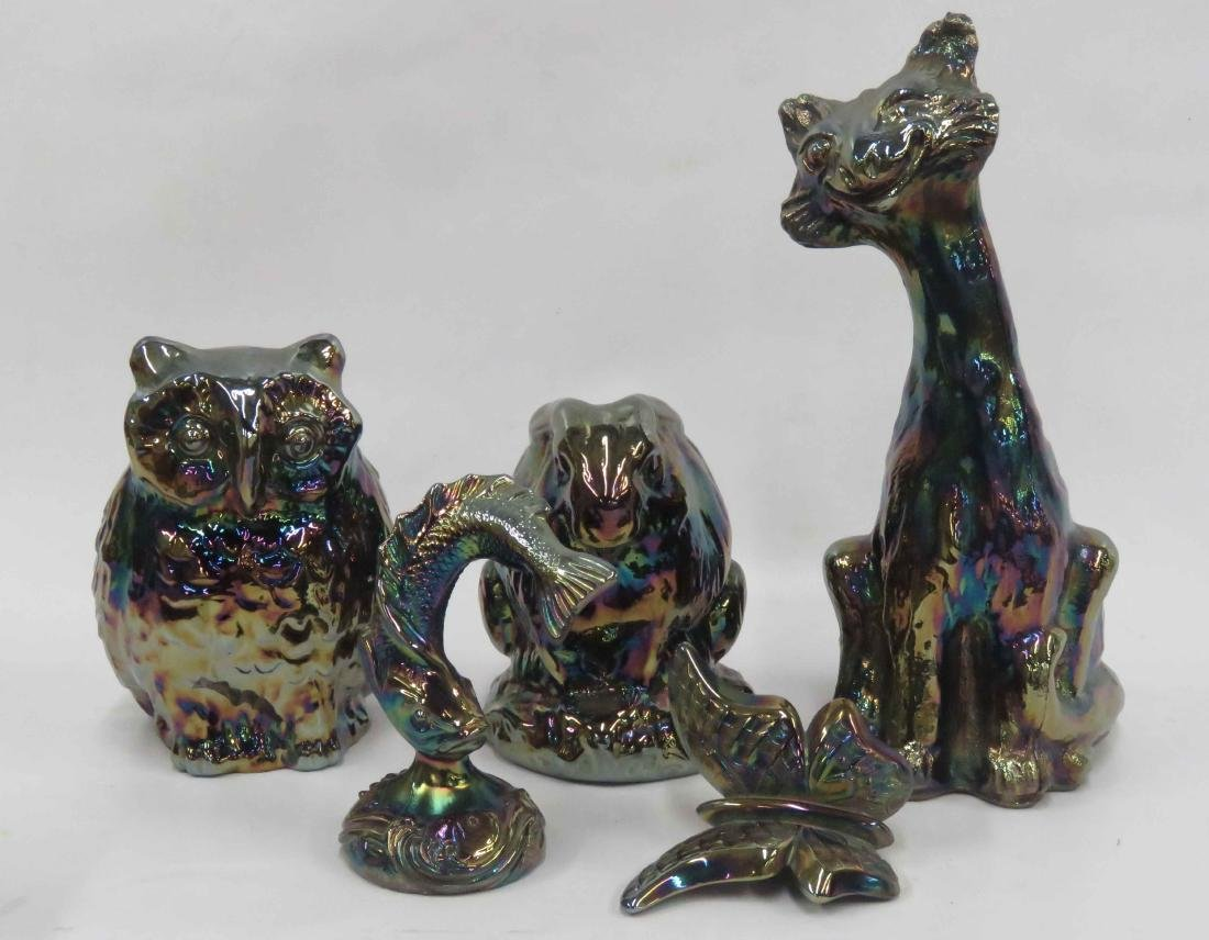 LOT (5) FENTON CARNIVAL GLASS FIGURES, SIGNED INCLUDING