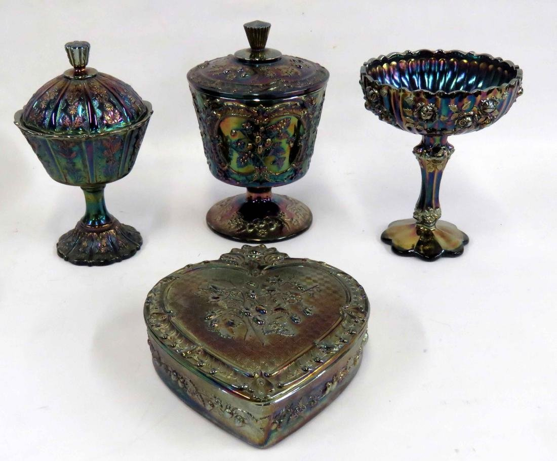 LOT (4) ASSORTED FENTON CARNIVAL GLASS COMPOTE AND