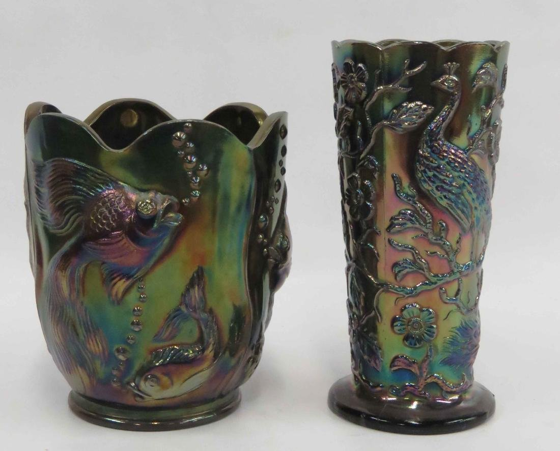 LOT (2) FENTON CARNIVAL GLASS VASES, SIGNED INCLUDING