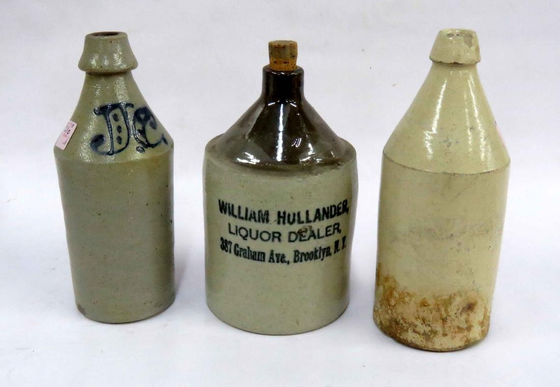 LOT (3) INCLUDING (2) STONEWARE BEER BOTTLES AND