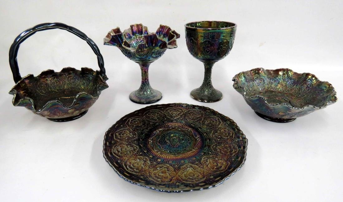 LOT (5) ASSORTED FENTON CARNIVAL GLASS BOWL, PLATE,