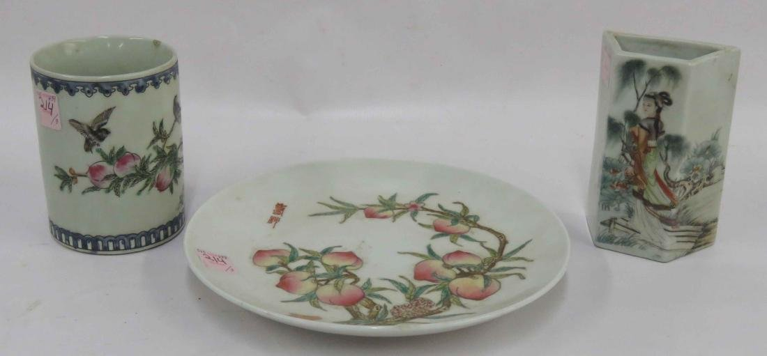 LOT (3) CHINESE FAMILLE ROSE DECORATED PORCELAIN