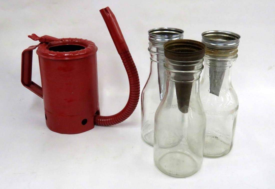 LOT (4) INCLUDING (3) GLASS AUTO OIL FILLERS AND SWING