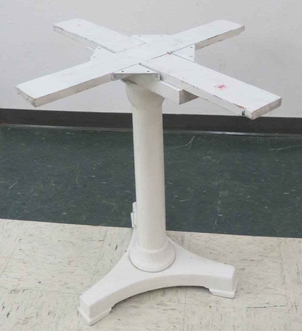 ANTIQUE PAINTED IRON WHITE TABLE PEDESTAL BASE (NO TOP)