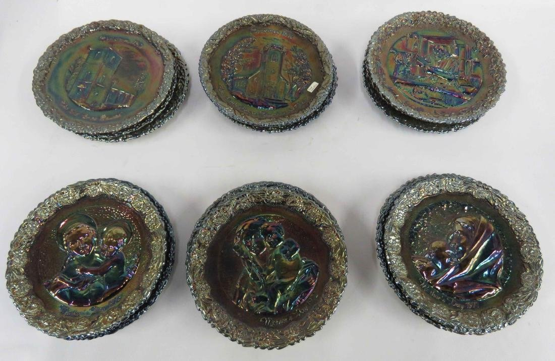 LOT (18) ASSORTED FENTON CARNIVAL GLASS PLATES, SIGNED,