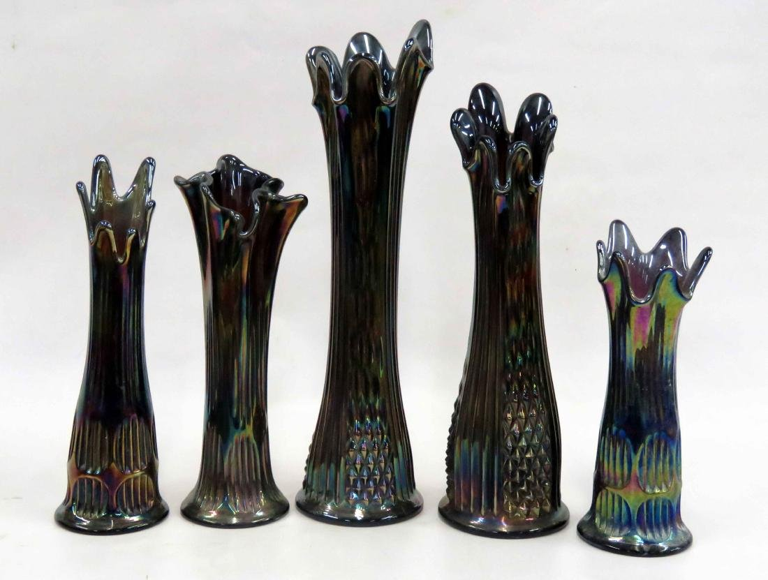 LOT (5) FENTON CARNIVAL GLASS VASES, SIGNED. HEIGHT 9