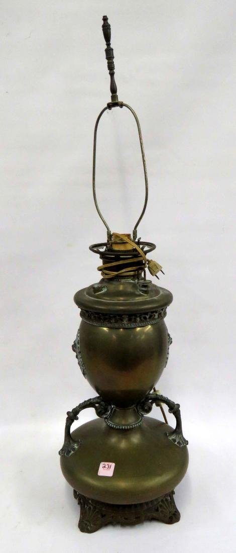 MILLER & CO. BRASS BANQUET LAMP, ELECTRIFIED, 19TH