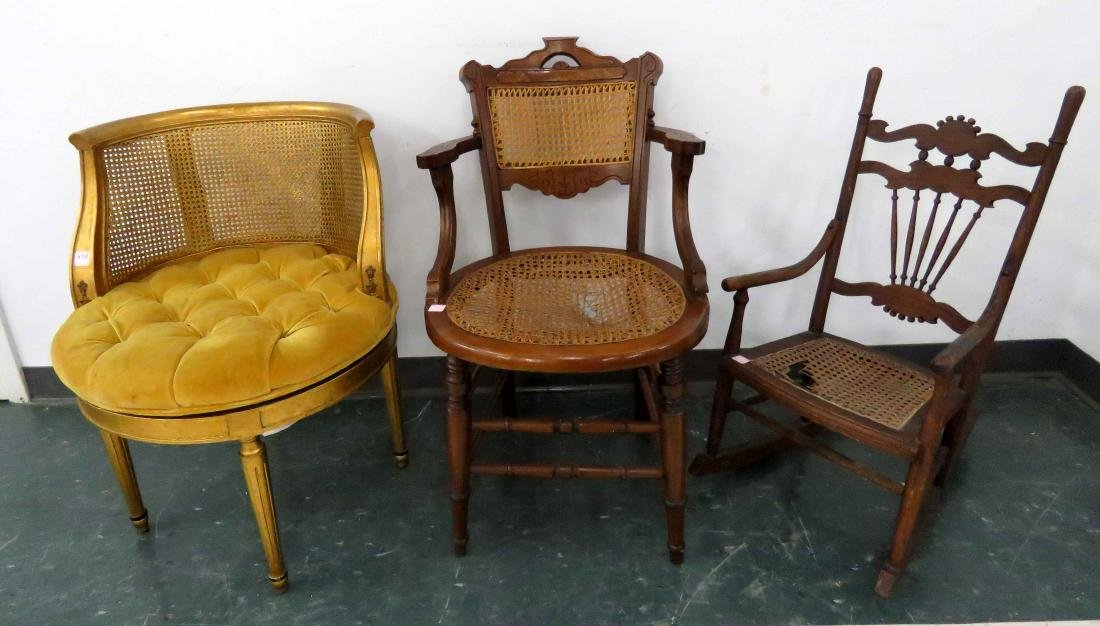 LOT (3) ASSORTED CHAIRS INCLUDING YOUTH'S OAK ROCKER,