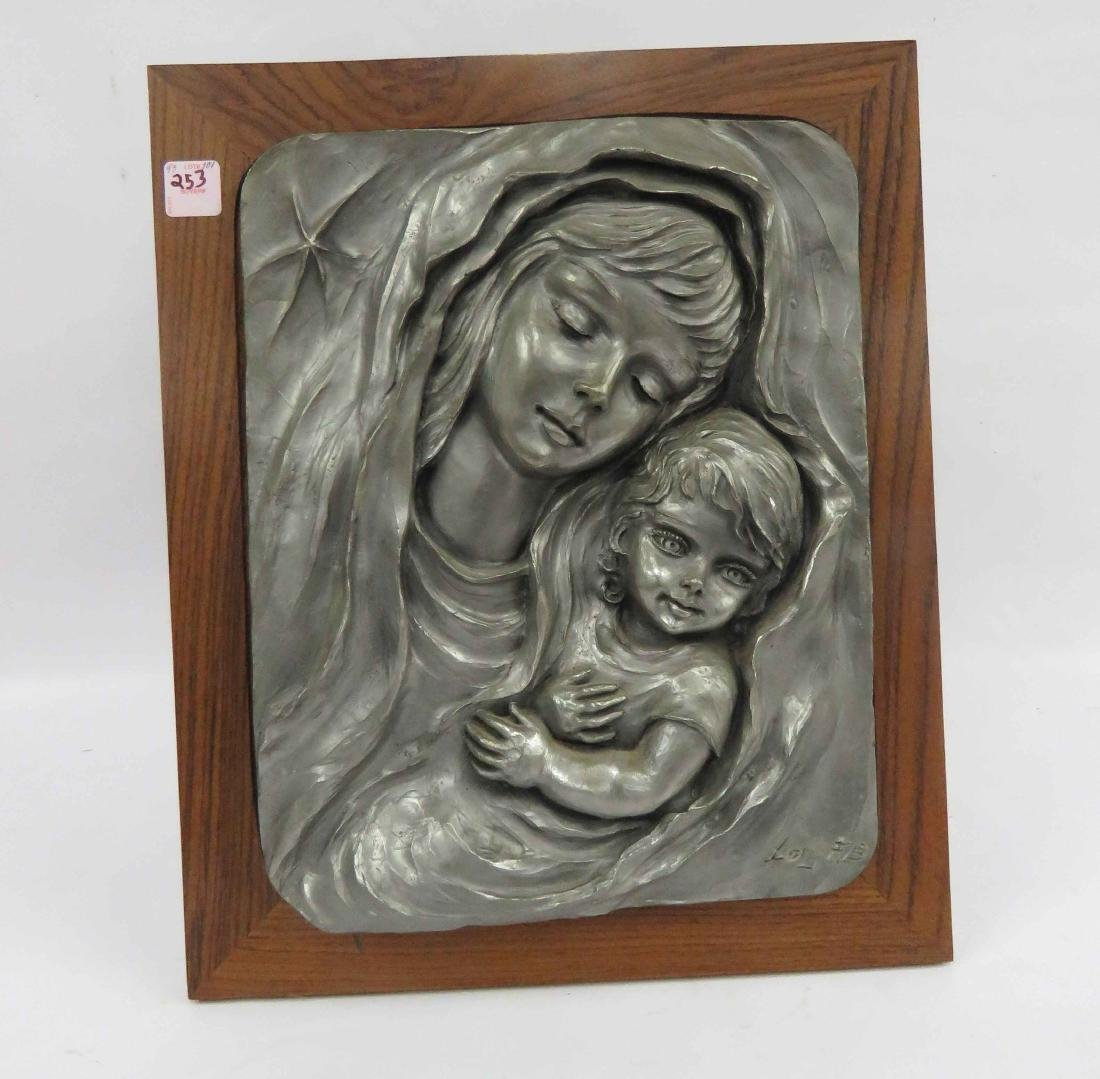 ITALIAN SCULPTED PLAQUE MOTHER AND CHILD, SIGNED F.B.