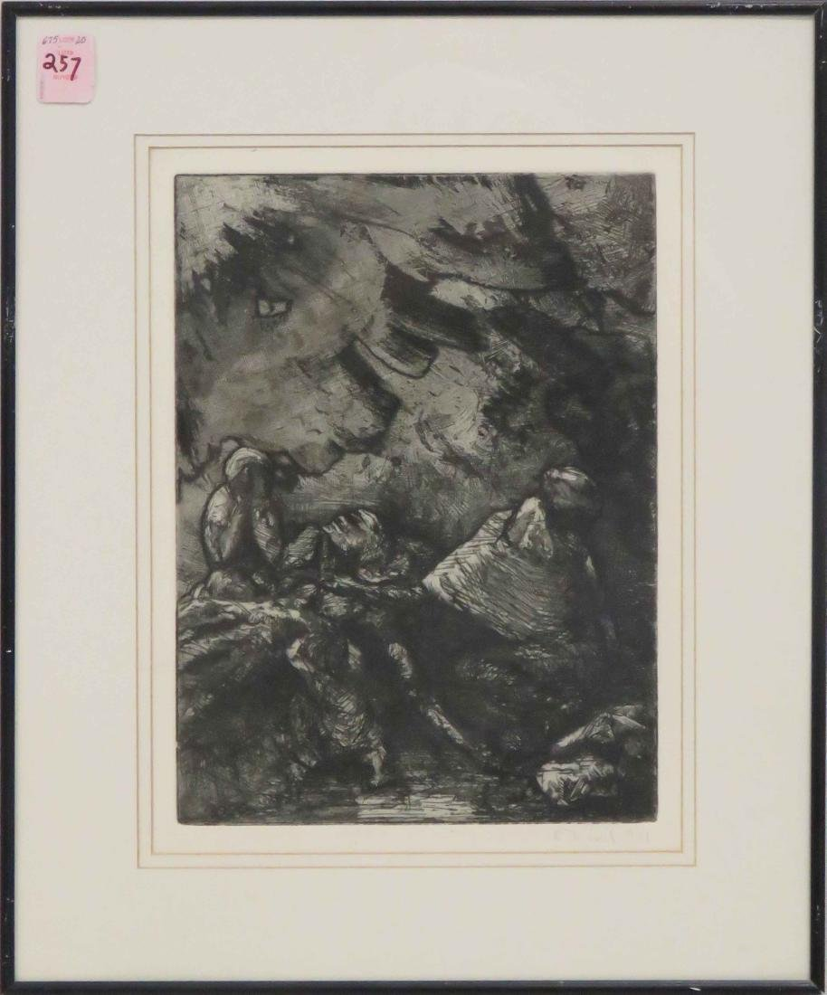 PIERRE DUBREUILL (FRENCH 1891-1970), ETCHING, FIGURES