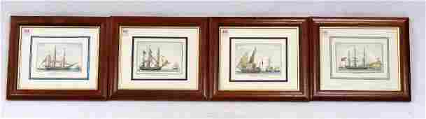 SET (4) HAND COLORED ENGRAVINGS, SHIPS AT SEA, WITH