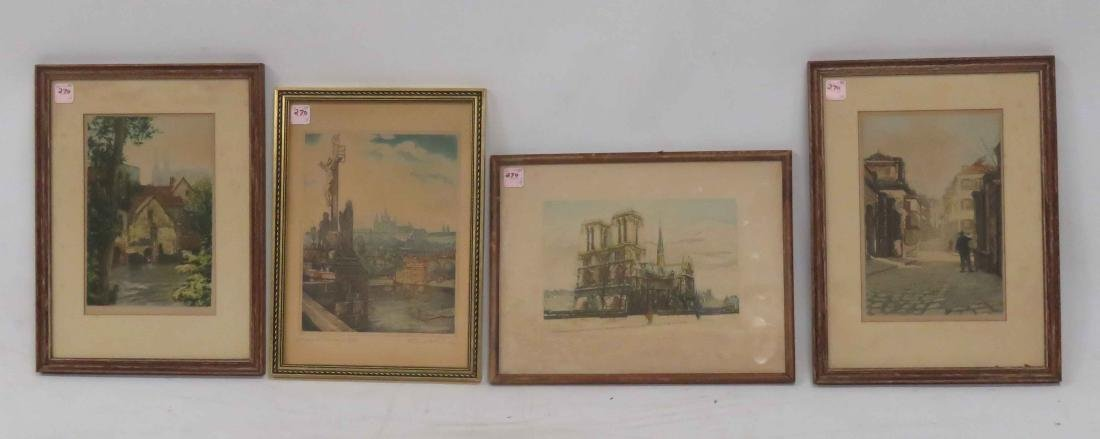 LOT (4) ASSORTED CONTINENTAL ETCHINGS AND AQUATINTS.
