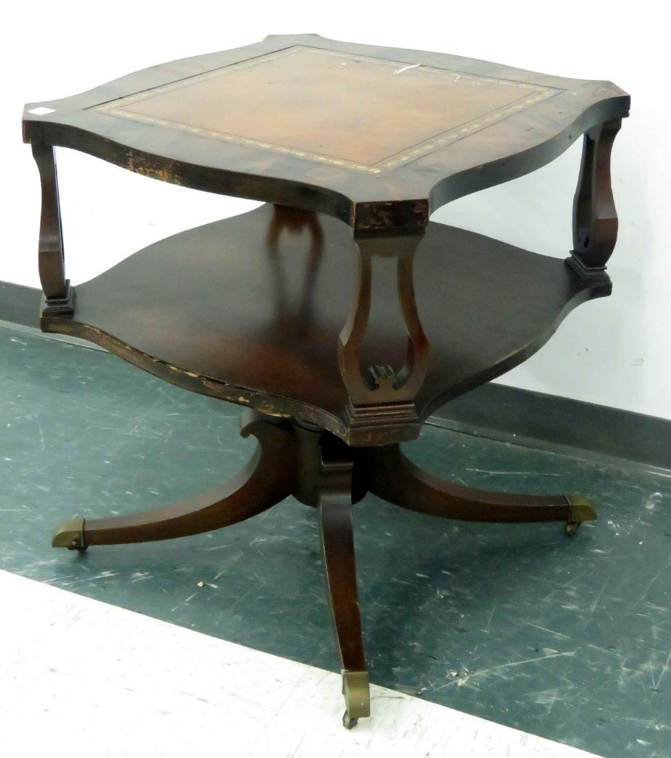 REGENCY STYLE CARVED MAHOGANY LAMP TABLE WITH LEATHER