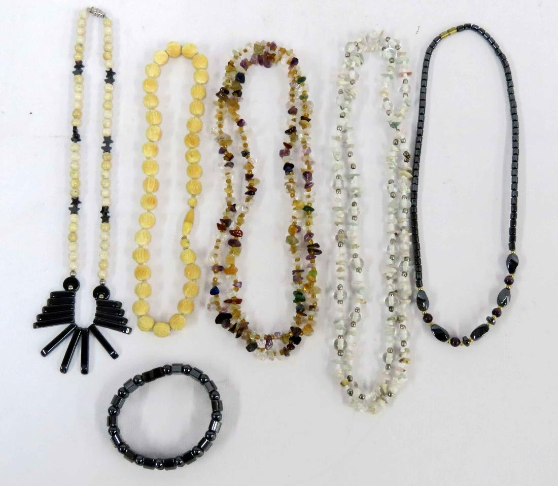 LOT GEMSTONE, HEMATITE, BONE AND SHELL NECKLACES AND