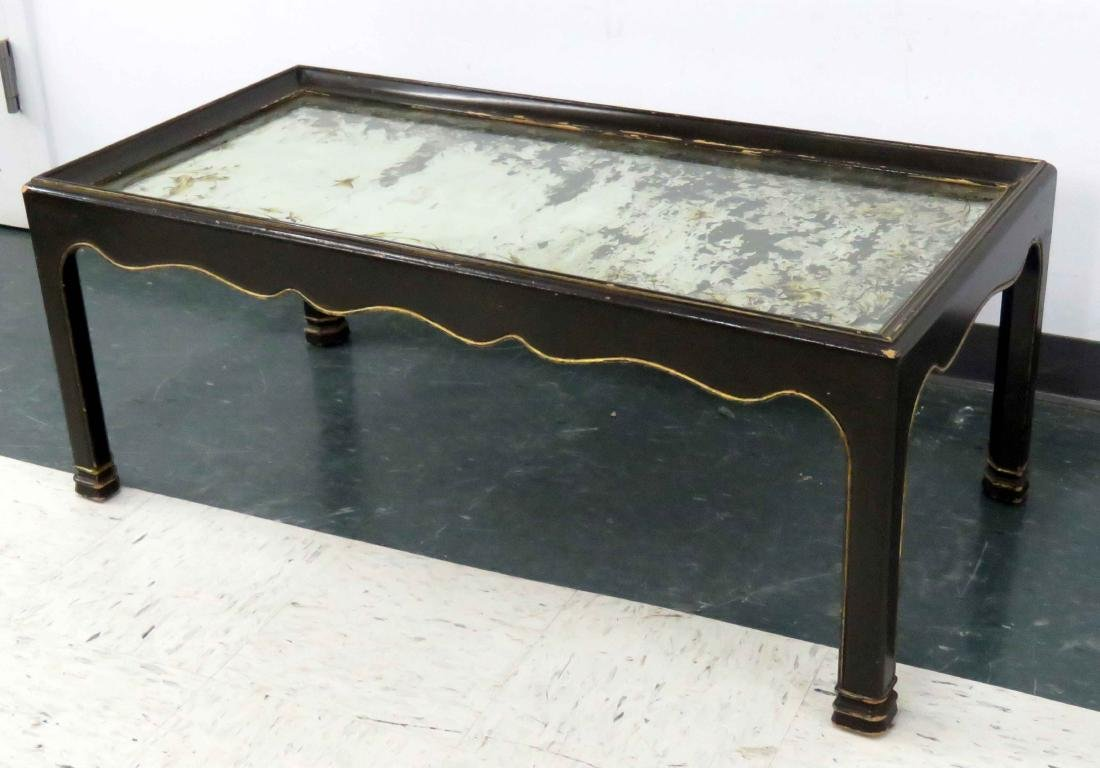 VENETIAN STYLE EGLOMISE MIRRORED TOP COCKTAIL TABLE.