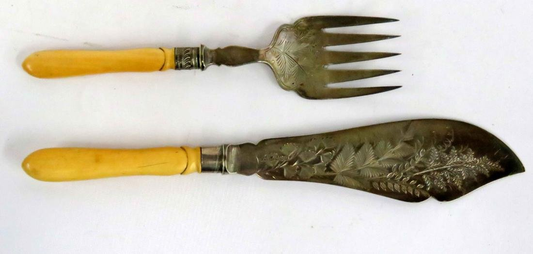 ANTIQUE SHEFFIELD SILVER PLATE CARVING KNIFE AND FORK,