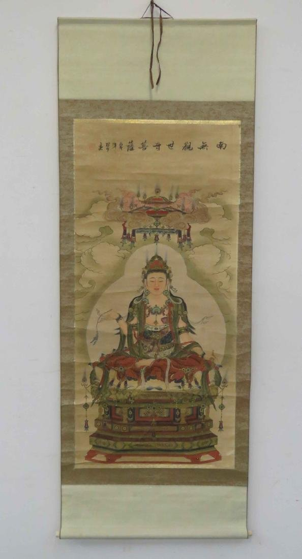 CHINESE SCROLL PAINTING ON PAPER, QUAN YIN AND