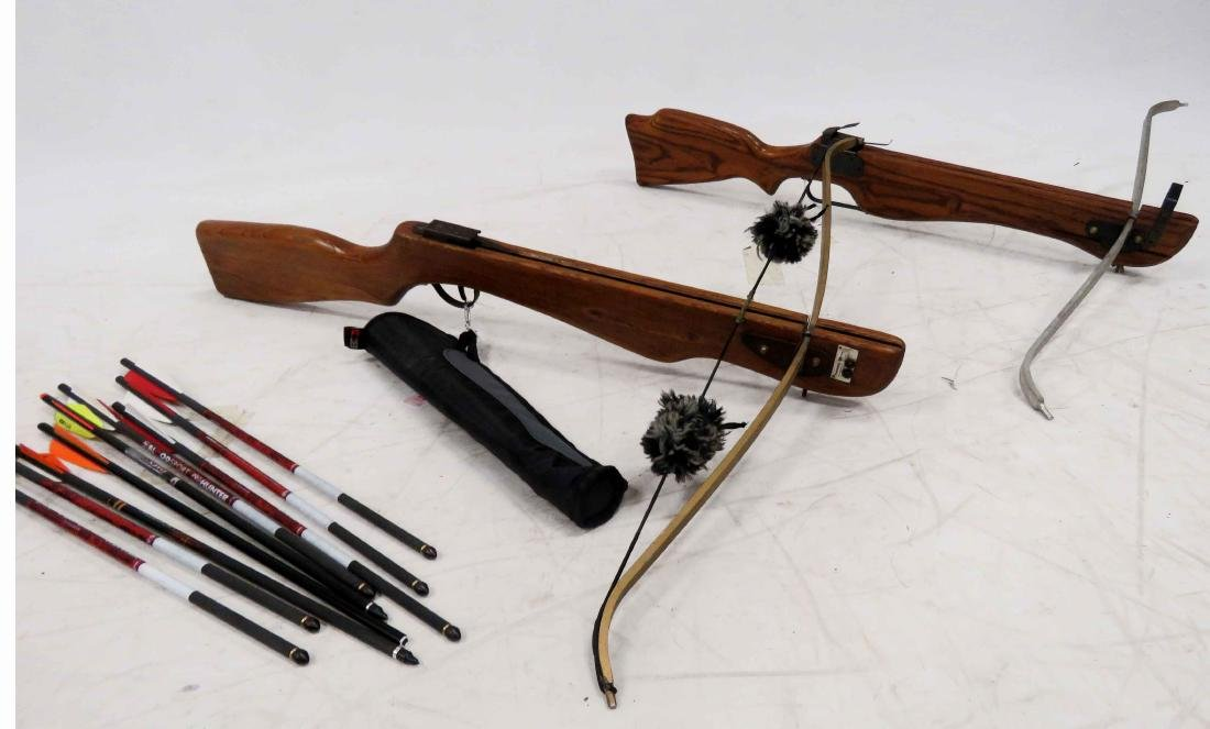 LOT (2) POWERMASTER CROSSBOWS, ARROWS AND QUIVER