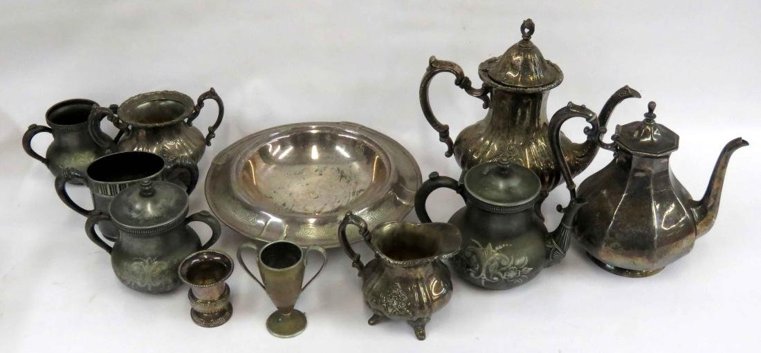 BOX LOT ASSORTED VICTORIAN AND OTHER SILVER PLATE