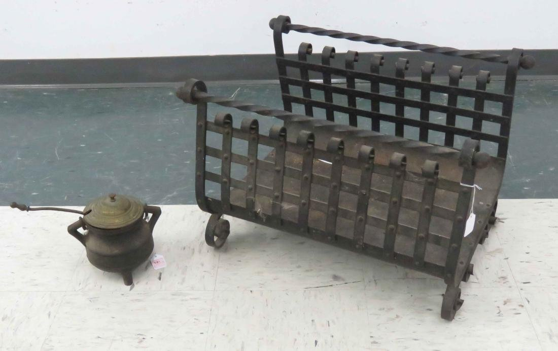 LOT (2) IRON INCLUDING WROUGHT IRON LOG TENDER AND CAST